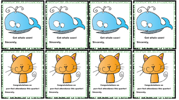 Printable Classroom Cards: Reinforcers, Passes, Notes to Parents, Get Well, etc.