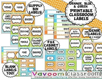 Printable Classroom Labels for Supply Bins, Book Genres, and File Cabinets