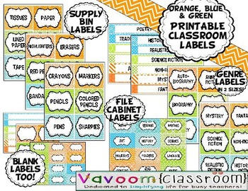 MEGA Printable Classroom Kit in Orange, Blue, and Green