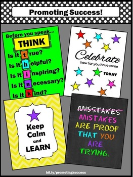 Classroom Motivational Posters, Class Rules, Before You Speak THINK