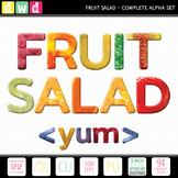 Printable Clip Art Alphabet *FRUIT SALAD* Alpha and Number Set