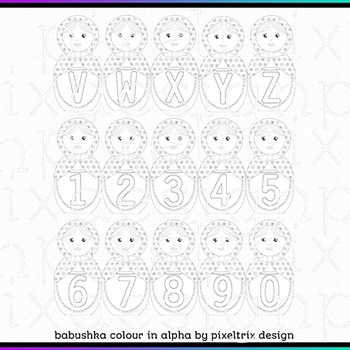 Printable Clip Art *BABUSHKA COLOUR IN* Alphabet and Number Set