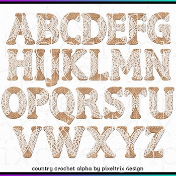 Printable Clip Art *COUNTRY CROCHET* Alphabet, Punctuation and Number Set