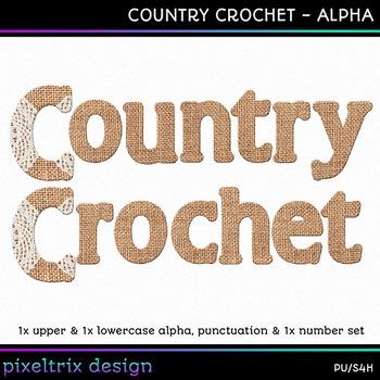 Printable Clip Art *COUNTRY CROCHET* Alphabet, Punctuation