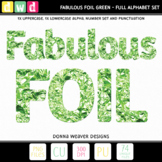 *FABULOUS FOIL- GREEN* Letters, Numbers, Printable Clip Art