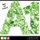 Printable Clip Art *FABULOUS FOIL- GREEN* Alphabet, Punctu
