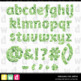 Printable Clip Art *FABULOUS FOIL- GREEN* Alphabet, Punctu