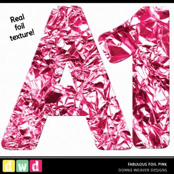 Printable Clip Art *FABULOUS FOIL- PINK* Alphabet, Punctuation and Number Set