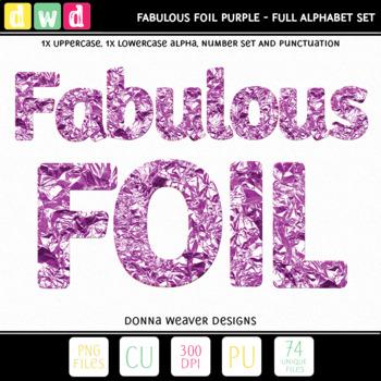 Printable Clip Art *FABULOUS FOIL- PURPLE* Alphabet, Punctuation and Number Set