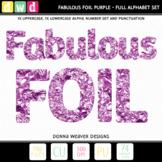 Printable Clip Art *FABULOUS FOIL- PURPLE* Alphabet, Punct