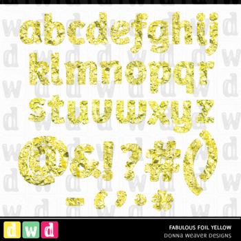 Printable Clip Art *FABULOUS FOIL- YELLOW* Alphabet, Punctuation and Number Set