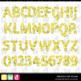 Printable Clip Art *FABULOUS FOIL- YELLOW* Alphabet, Punct