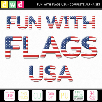 Printable Clip Art *FUN WITH FLAGS - USA* Alphabet, Punctuation and Number Set