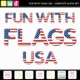 Printable Clip Art *FUN WITH FLAGS - USA* Alphabet, Punctu