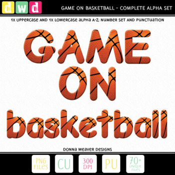 Printable Clip Art *GAME ON - BASKETBALL* Alphabet, Punctuation and Number Set