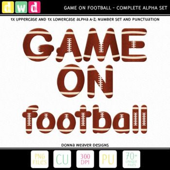 Printable Clip Art *GAME ON - FOOTBALL* Alphabet, Punctuation and Number Set