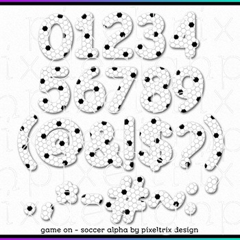 Printable Clip Art *GAME ON - SOCCER* Alphabet, Punctuation and Number Set