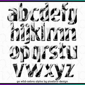 Printable Clip Art *GO WILD - ZEBRA* Alphabet, Punctuation and Number Set