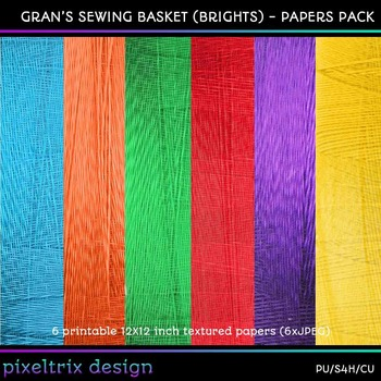 Printable Clip Art *GRANS SEWING BASKET - BRIGHTS* Textured Paper Pack