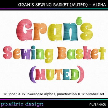 Printable Clip Art *GRANS SEWING BASKET - MUTED* Alpha, Punct & Number Set