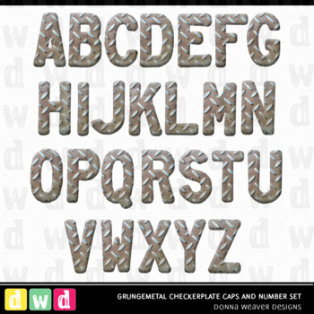 Printable Clip Art *GRUNGEMETAL CHECKERPLATE* Alphabet, Punct and Number Set