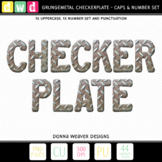 *GRUNGEMETAL CHECKERPLATE* Printable Metal Letters Number Clip Art