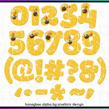 Printable Clip Art *HONEYBEE* Alphabet, Punctuation and Number Set