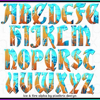 Printable Clip Art *ICE AND FIRE* Alphabet, Punctuation and Number Set