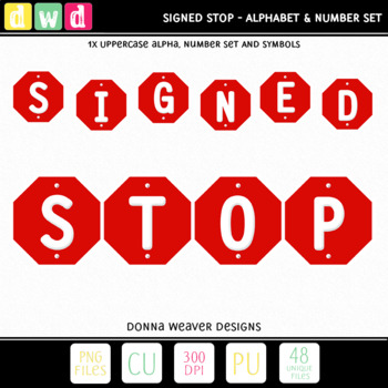 Printable Clip Art *SIGNED - STOP* Alphabet, Punctuation and Number Set