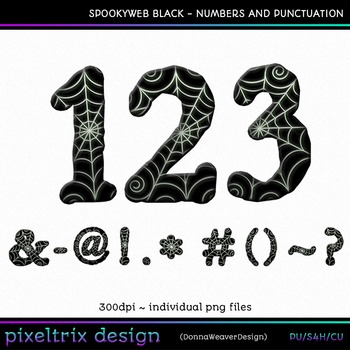 CU4CU *SPOOKYWEB - BLACK* Numbers and Punctuation Printable Clip Art