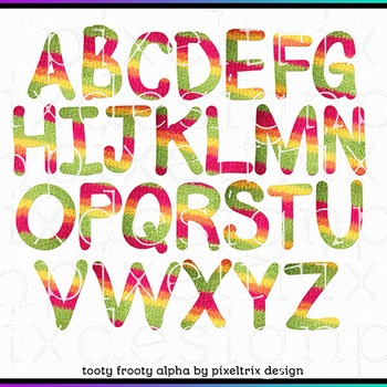 Printable Clip Art *TOOTY FROOTY* Alphabet, Punctuation and Number Set