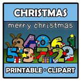 Printable Clipart - Christmas numbers - Navidad con números