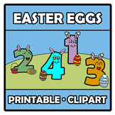 Printable Clipart - Easter eggs numbers - Números con huev