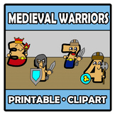 Printable Clipart - Medieval warriors with numbers - Guerr