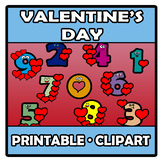 Printable Clipart - Valentine's Day Numbers - San Valentín