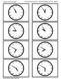 Printable Clock Flash Cards, Hours, Half Hours, 5,10,15,20