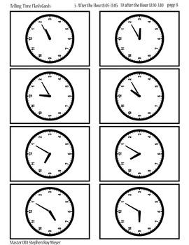 Printable Clock Flash Cards, Hours, Half Hours, 5,10,15,20
