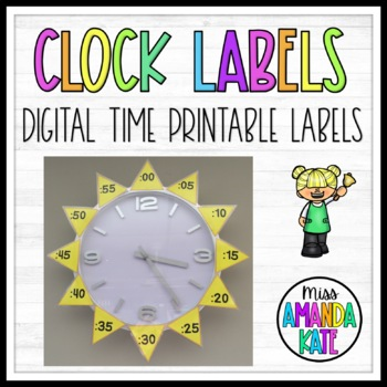 Printable Clock Labels to Learn Digital Time