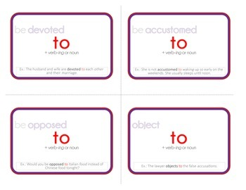 Printable Collocation and Preposition Flash Cards: DIFFICULT