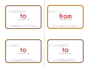 Printable Collocation and Preposition Flash Cards: EASY (with instructions)