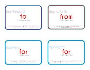 Printable Collocation and Preposition Flash Cards: INTERMEDIATE