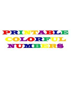 Printable Colorful Numbers