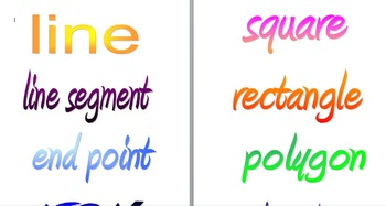 Printable Colorful Geometry Definitions and Vocab Words