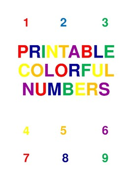 Printable Colorful Numbers