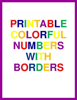 Printable Colorful Numbers With Borders