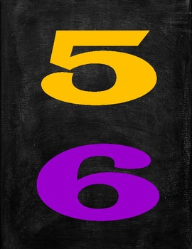 Printable Colorful Numbers With Chalkboard Background
