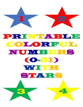 Printable Colorful Numbers With Stars
