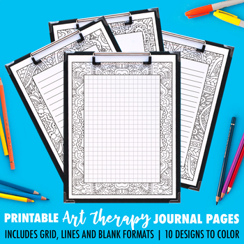 Printable Coloring Journal Pages   Art Therapy Series A (10 Pack)   4 versions