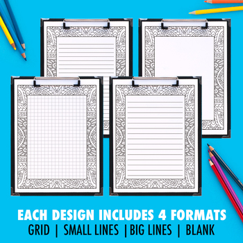 Printable Coloring Journal Pages | Art Therapy Series B (10 Pack) | 4 versions