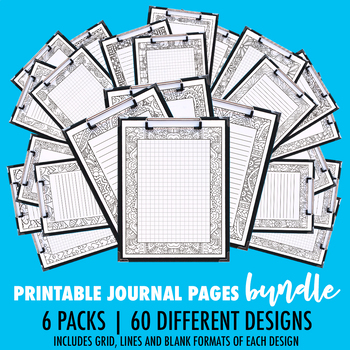 Printable Coloring Journal Pages Bundle